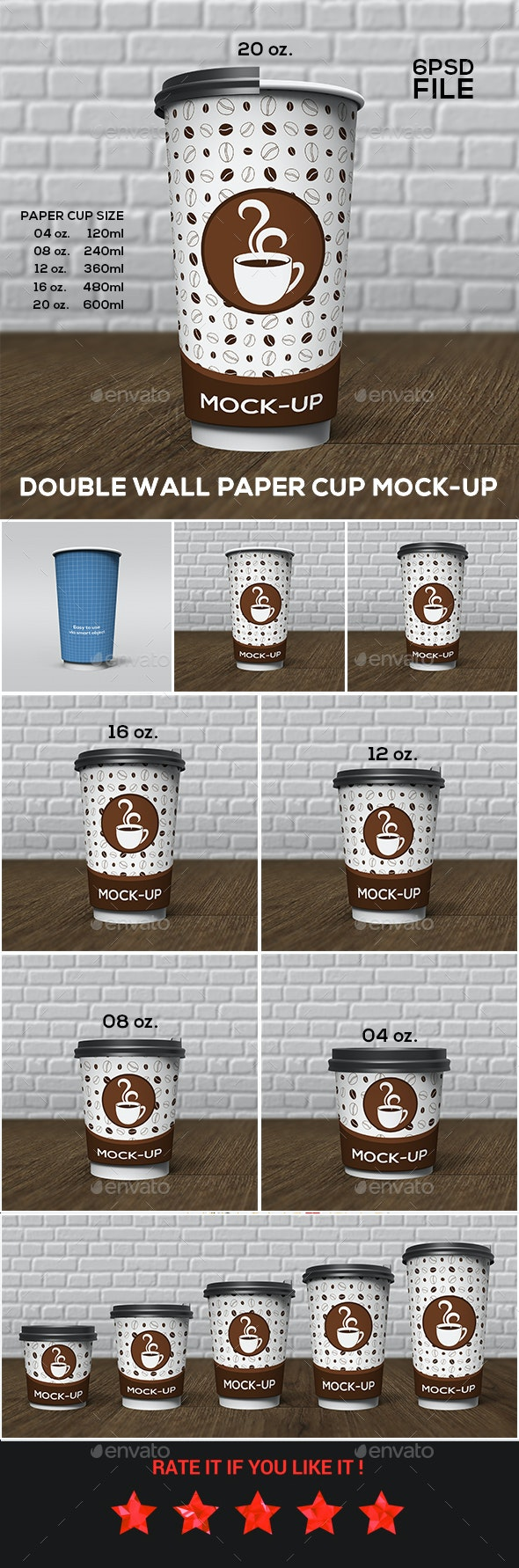 Double Wall Paper Cup Mock-Up Set - Food and Drink Packaging