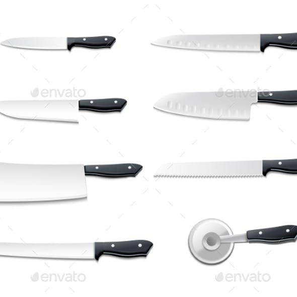 Realistic Knives Icon Set