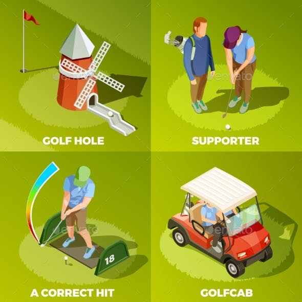 Golf 2X2 Isometric Design Concept