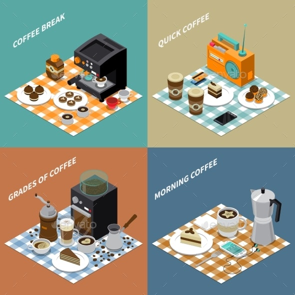 Coffee Isometric Design Concept - Food Objects