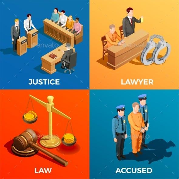 Justice Isometric Design Concept