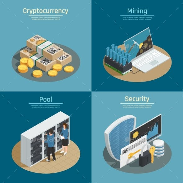 Cryptocurrency Isometric Compositions