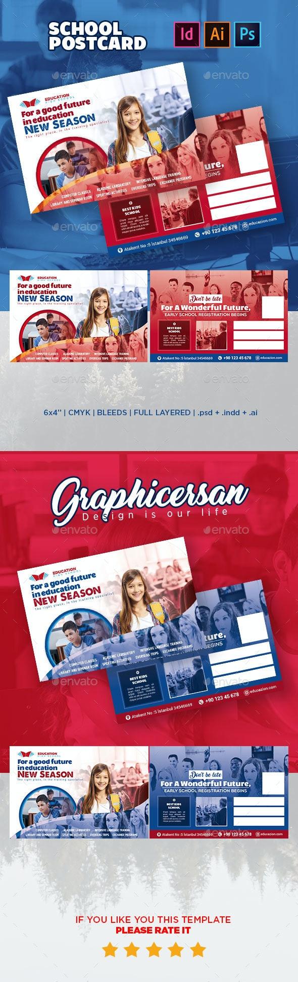 School Postcard Templates - Signage Print Templates