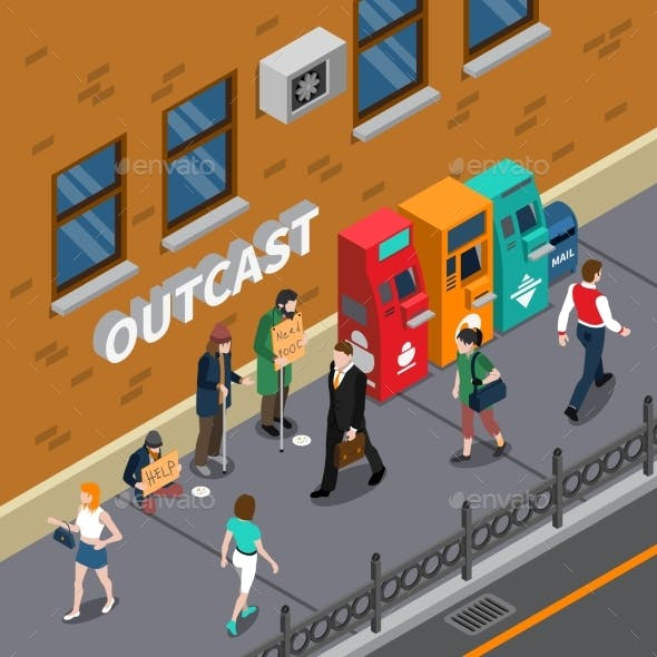 Beggars at Street Isometric Illustration