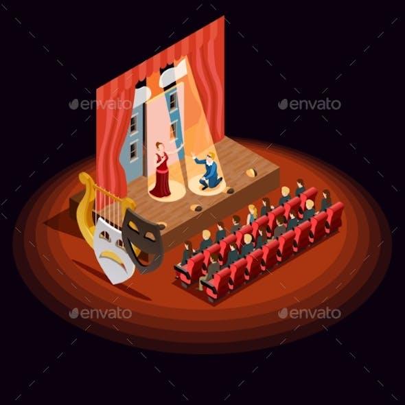 Theatre Auditorium Isometric Composition