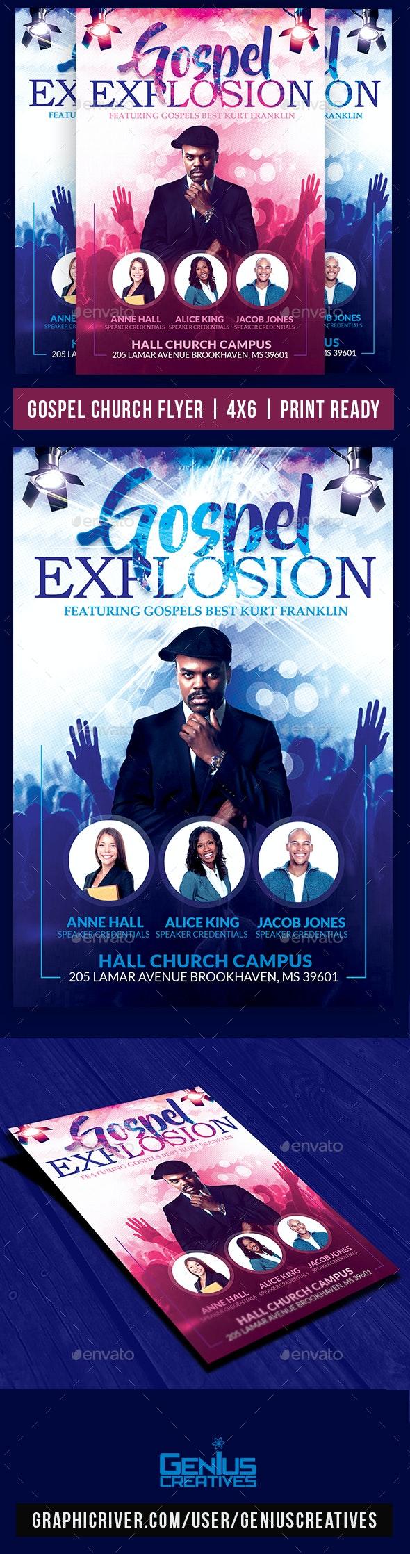 Gospel Explosion Church Flyer - Church Flyers