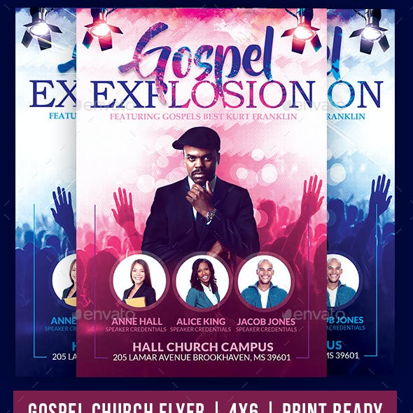 Gospel Explosion Church Flyer