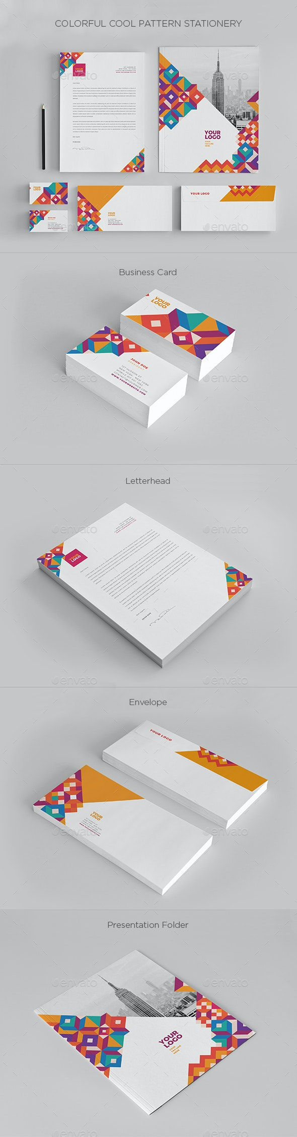 Colorful Cool Pattern Stationery - Stationery Print Templates