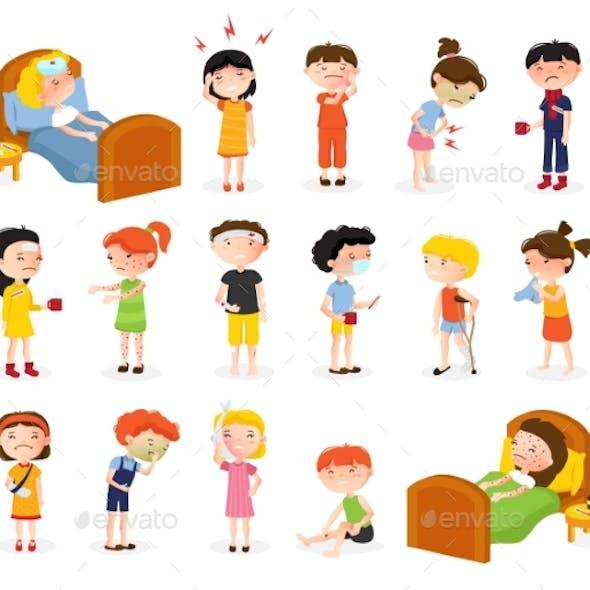 Sick Children Doodle Set