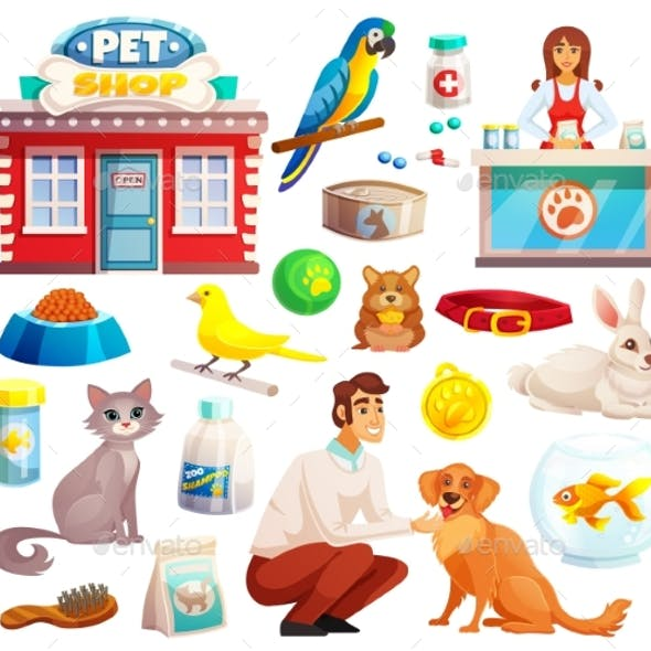Pet Shop Decorative Icons Set