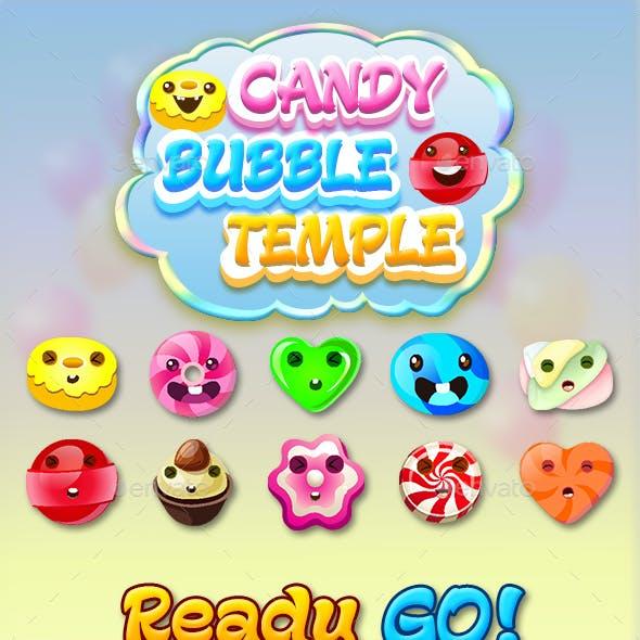 Bubble Shooter Unity Asset Reskin : Candy Bubble Temple