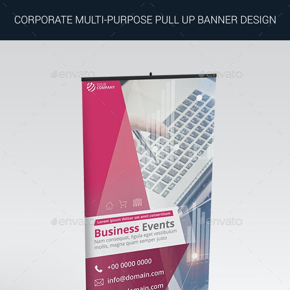 Multi-Purpose Corporate Roll up Banner Design in 3 Standard Sizes