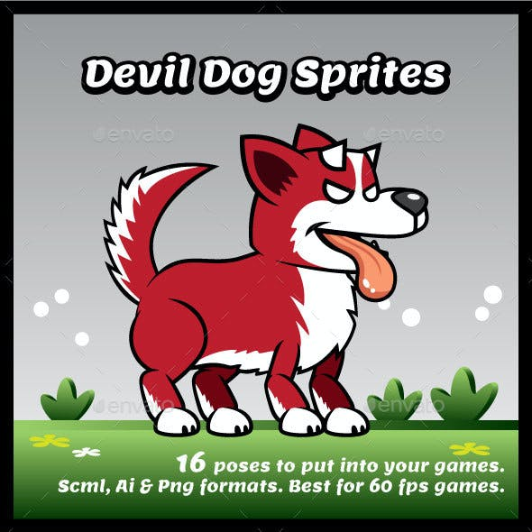 Devil Dog Game Character Sprites