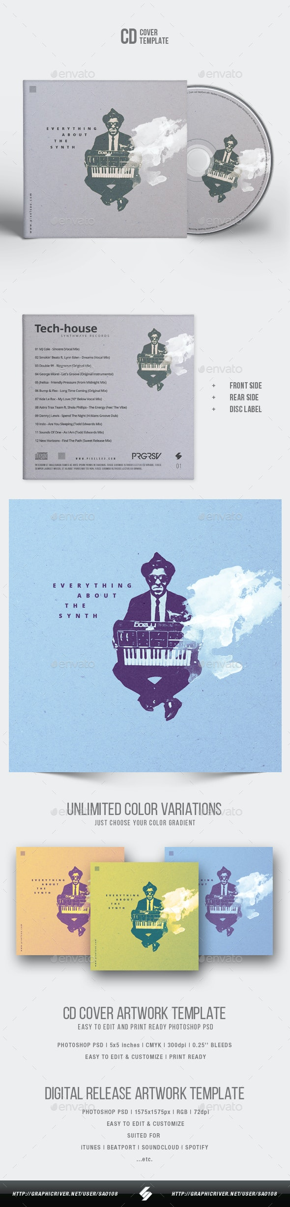 Everything About The Synth - Minimal CD Cover Artwork Template - CD & DVD Artwork Print Templates