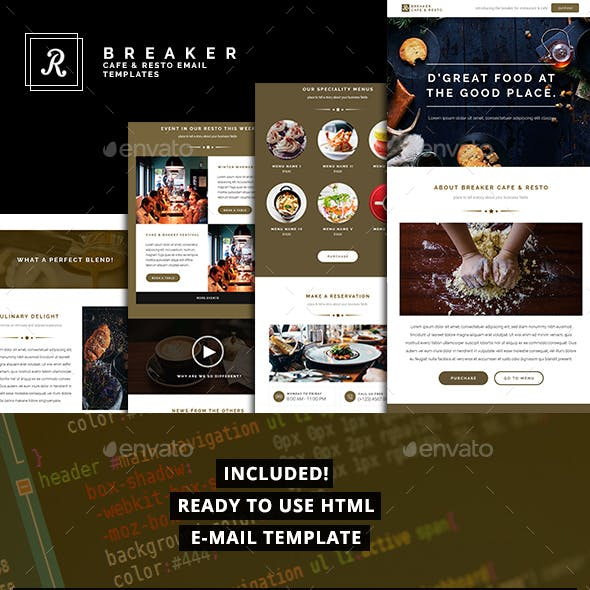 Resto & Cafe Email Template Pack, Breaker Series | PSD + HTML Included