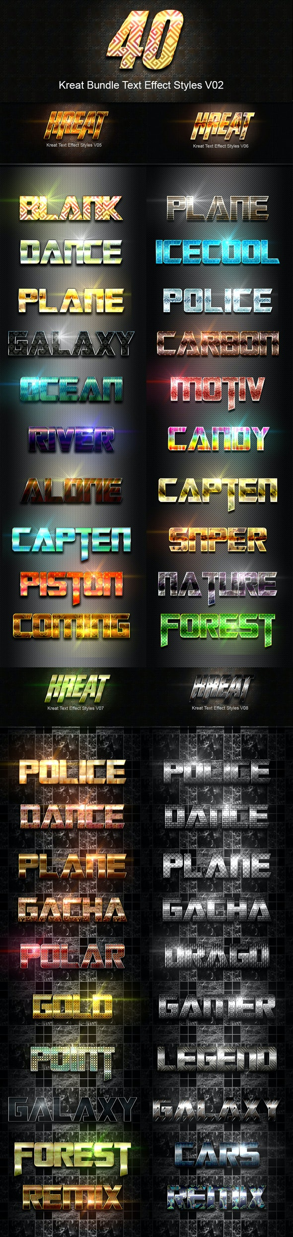 40 Kreat Bundle Text Effect Styles V02 - Text Effects Styles