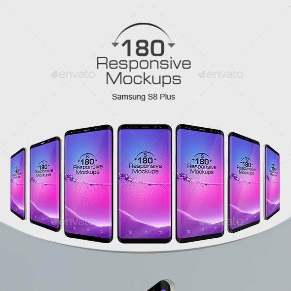 180 Responsive 3D Mockups Galaxy S8 Plus