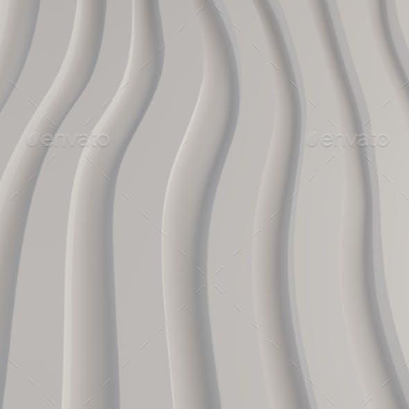 Black and White Pattern Made of Curved Waves 3d