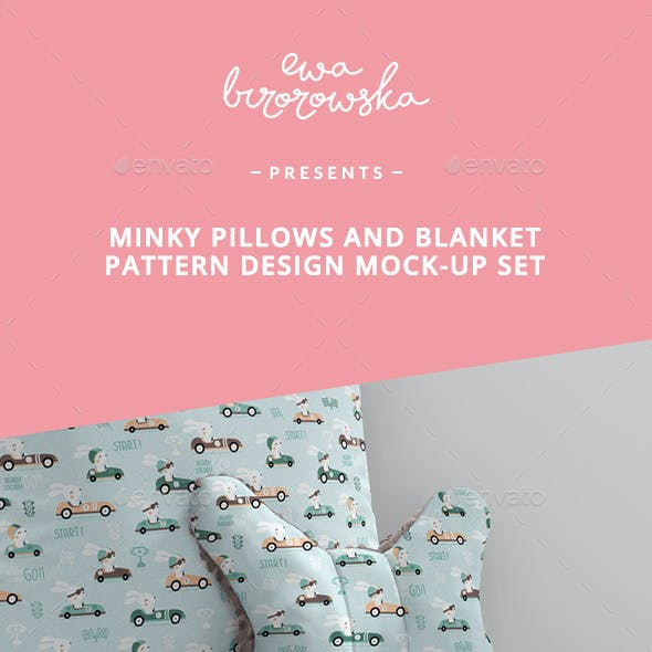 Minky Pillows and Blanket Pattern Design Mock-up Set