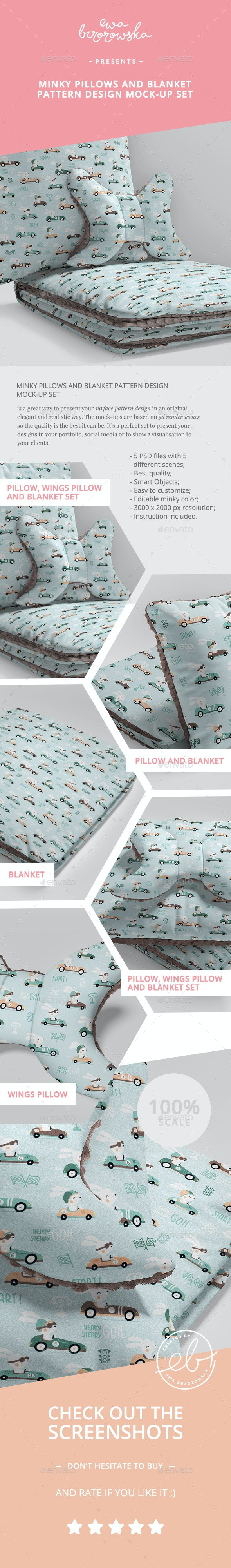 Minky Pillows and Blanket Pattern Design Mock-up Set - Miscellaneous Apparel