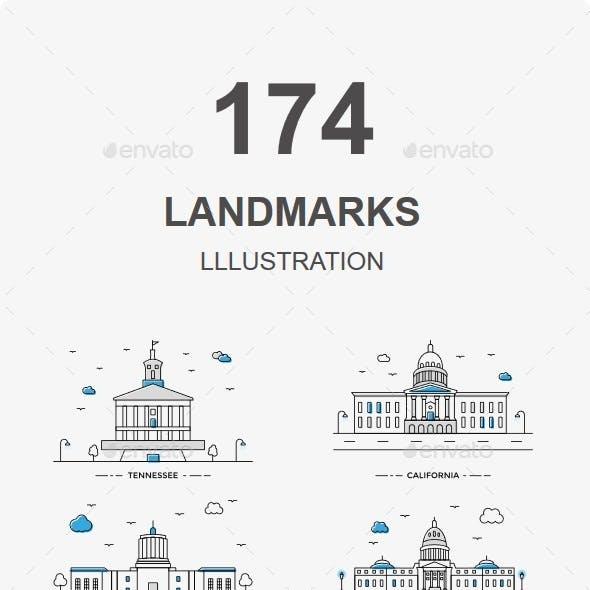 Capital World Landmarks Illustration