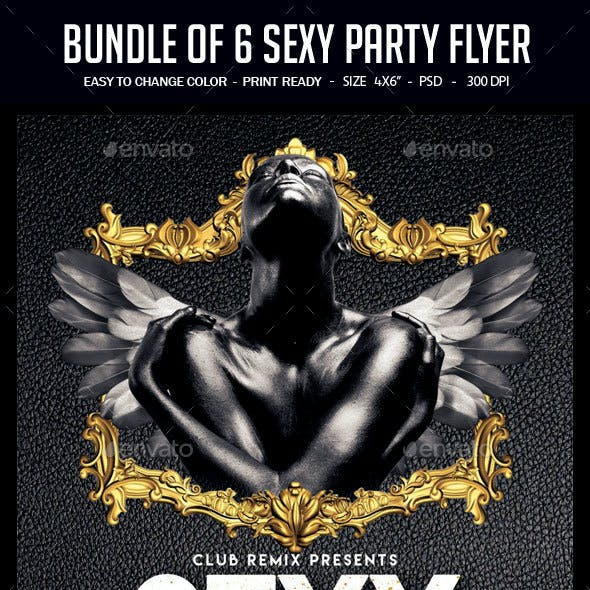 Bundle of 6 Sexy Party Flyers