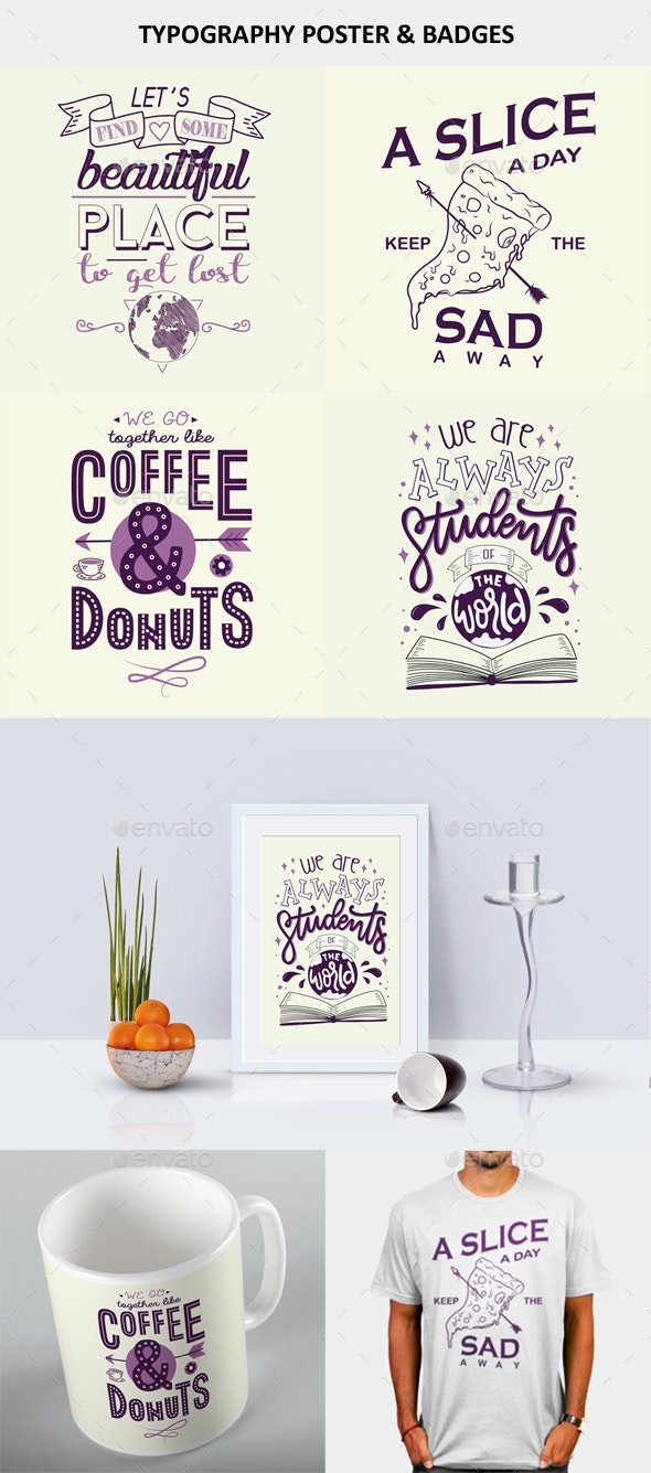 Typography Poster And Badges Design - Badges & Stickers Web Elements