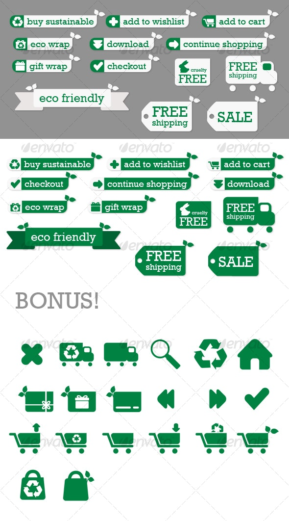 Eco Store Sustainable Ecommerce Buttons and Icons - Buttons Web Elements