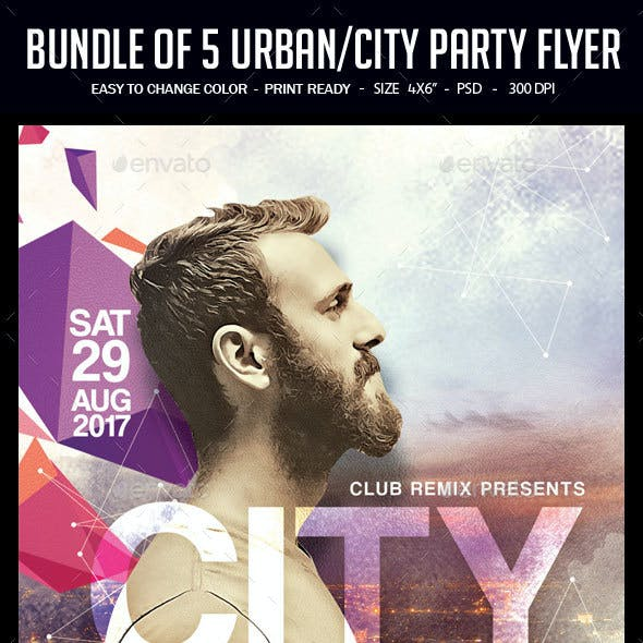 Bundle of 5 Urban/City Party Flyer