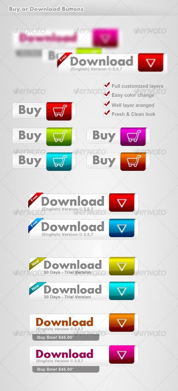 Clean Buy & Download buttons - Buttons Web Elements