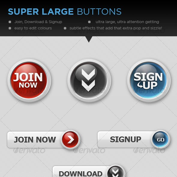 Super Large Buttons (Join, Signup & Download)