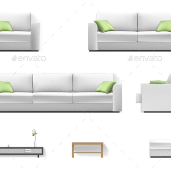 White Sofa with Green Pillow