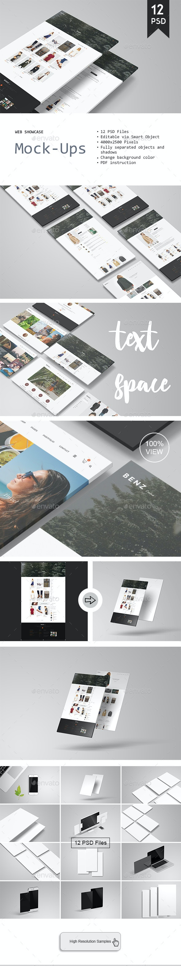 Web Showcase Mockup - Displays Product Mock-Ups
