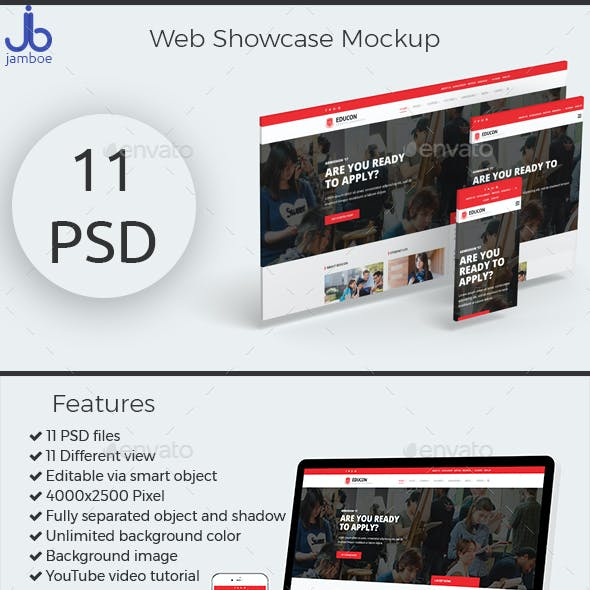 3D Web Showcase Mockup (11 PSD Files)