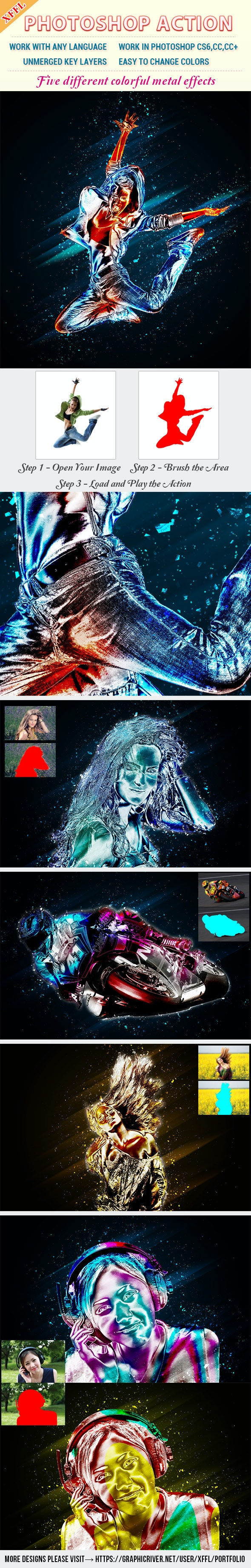 Colorful Metal Effect Photoshop Action - Photo Effects Actions