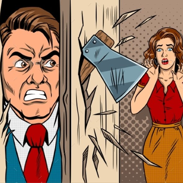 Man Breaking in the Door Comic Book Style Vector