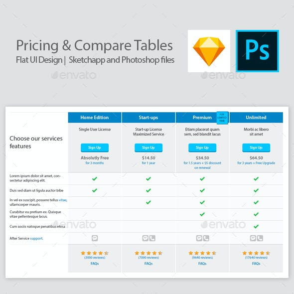 Pricing and Comparison Table Templates