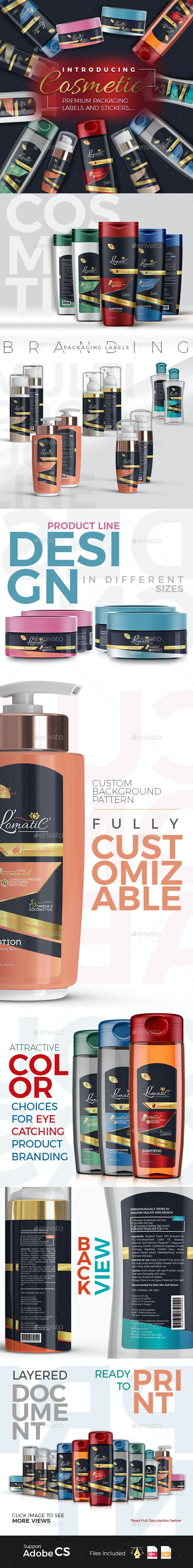 Cosmetic Branding Packaging Labels & Stickers - Packaging Print Templates