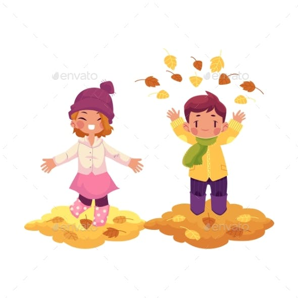 Vector Girl, Boy and Autumn Leaves Isolated