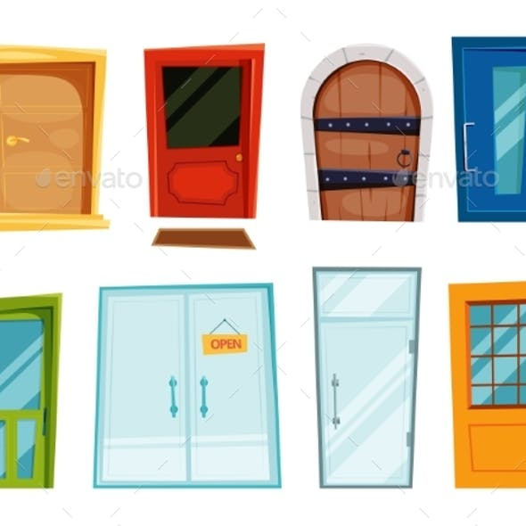 Closed Doors of Different Types. Vector