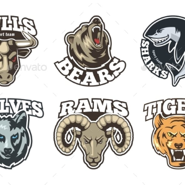 Sport Labels Set with Different Animals. Company