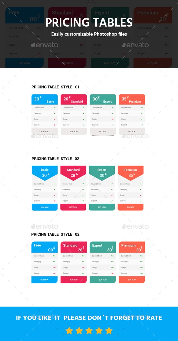 Pricing Tables - Tables Web Elements