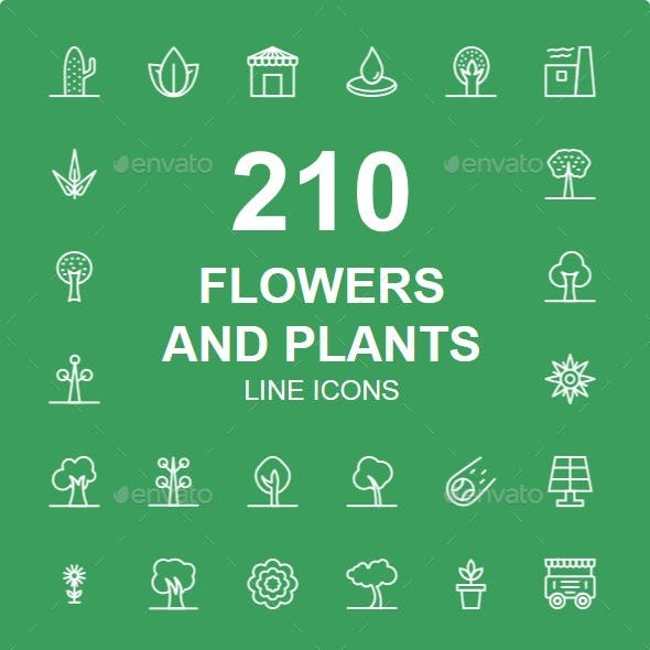 210+ Flowers, Parks, Nature, Plants, Trees line icons