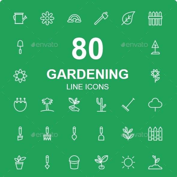 50+ Gardening line icons