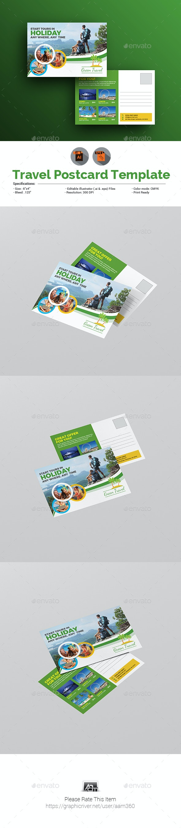 Holiday Tour & Travel Postcard Template - Cards & Invites Print Templates