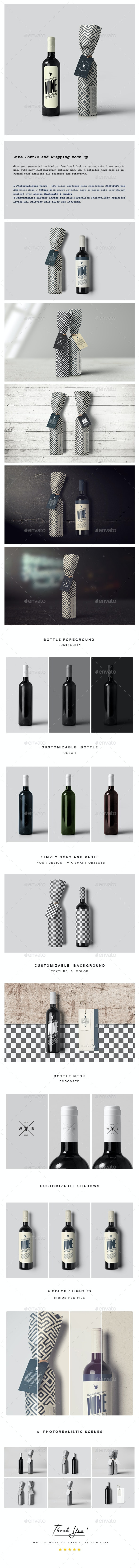 Wine Bottle/Wrapping Mock-up - Food and Drink Packaging