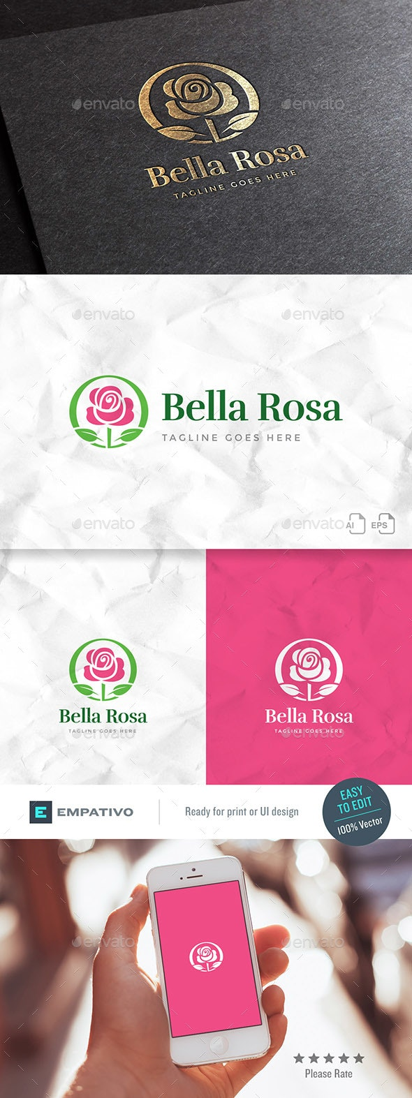 Bella Rosa Logo Template - Nature Logo Templates
