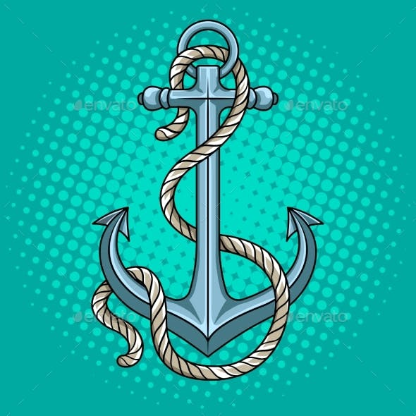 Anchor with Rope Pop Art Style Vector Illustration