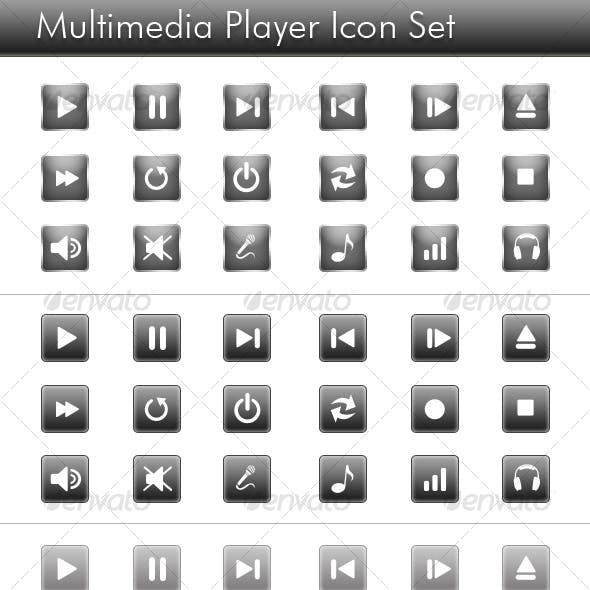 Web Media Player Icons | Gray
