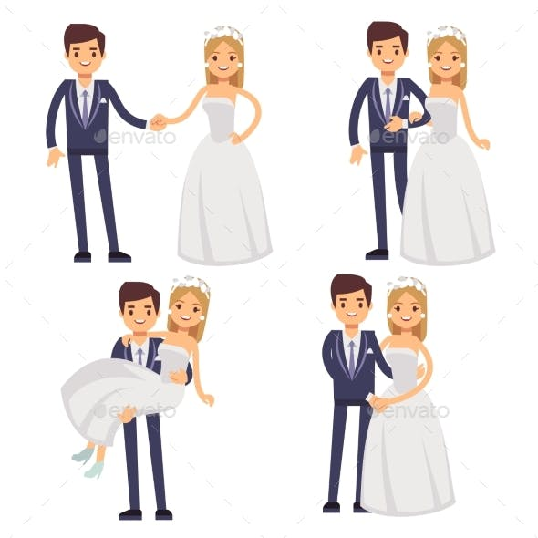 Cartoon Wedding Couple. Just Married Vector